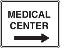 Sign with arrow pointing to Medical Center