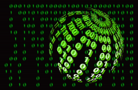 Black sphere with green binary code in front of black screen with green numbers displayed