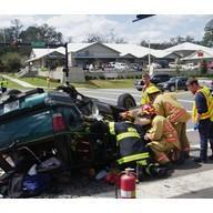 First responders problem-solving at an accident