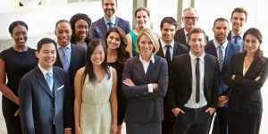 Group of smiling office professionals