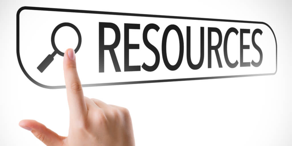 hand pointing at a button saying RESOURCES