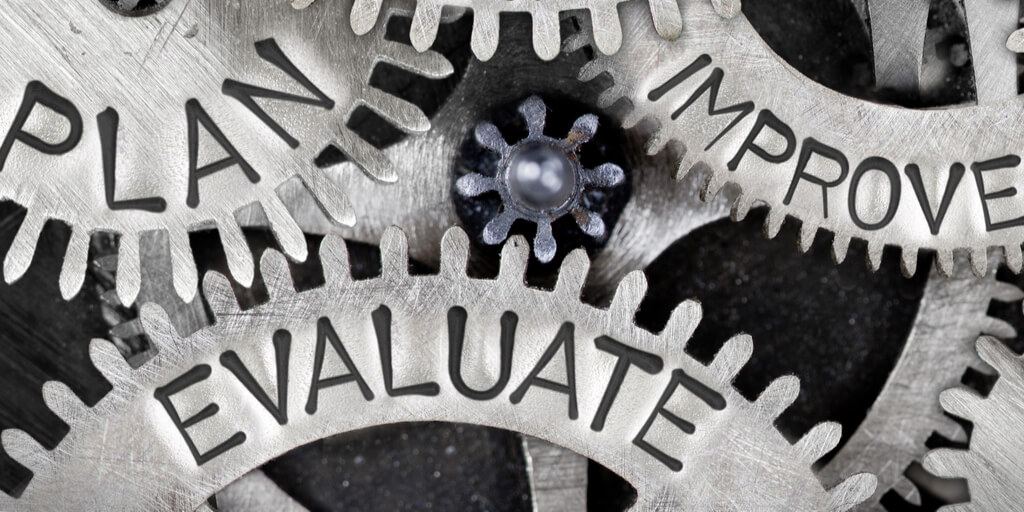 Plan, evaluate, improve inscribed on interlocking gears