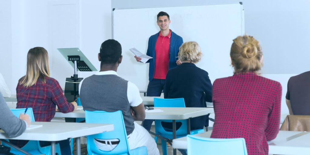 Instructor leading a professional development training class