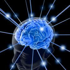 Image of a human brain shown in blue with electric rays representing critical thinking and ideas