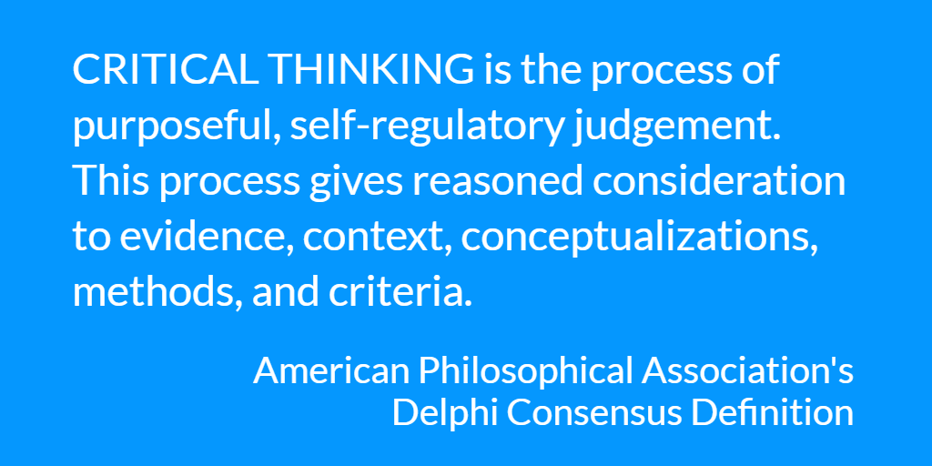 Critical thinking definition from the APA Delphi Consensus Definition
