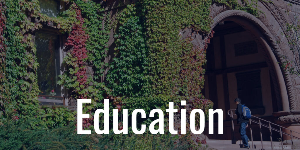 Picture of ivy covered walls with the word EDUCATION as a label