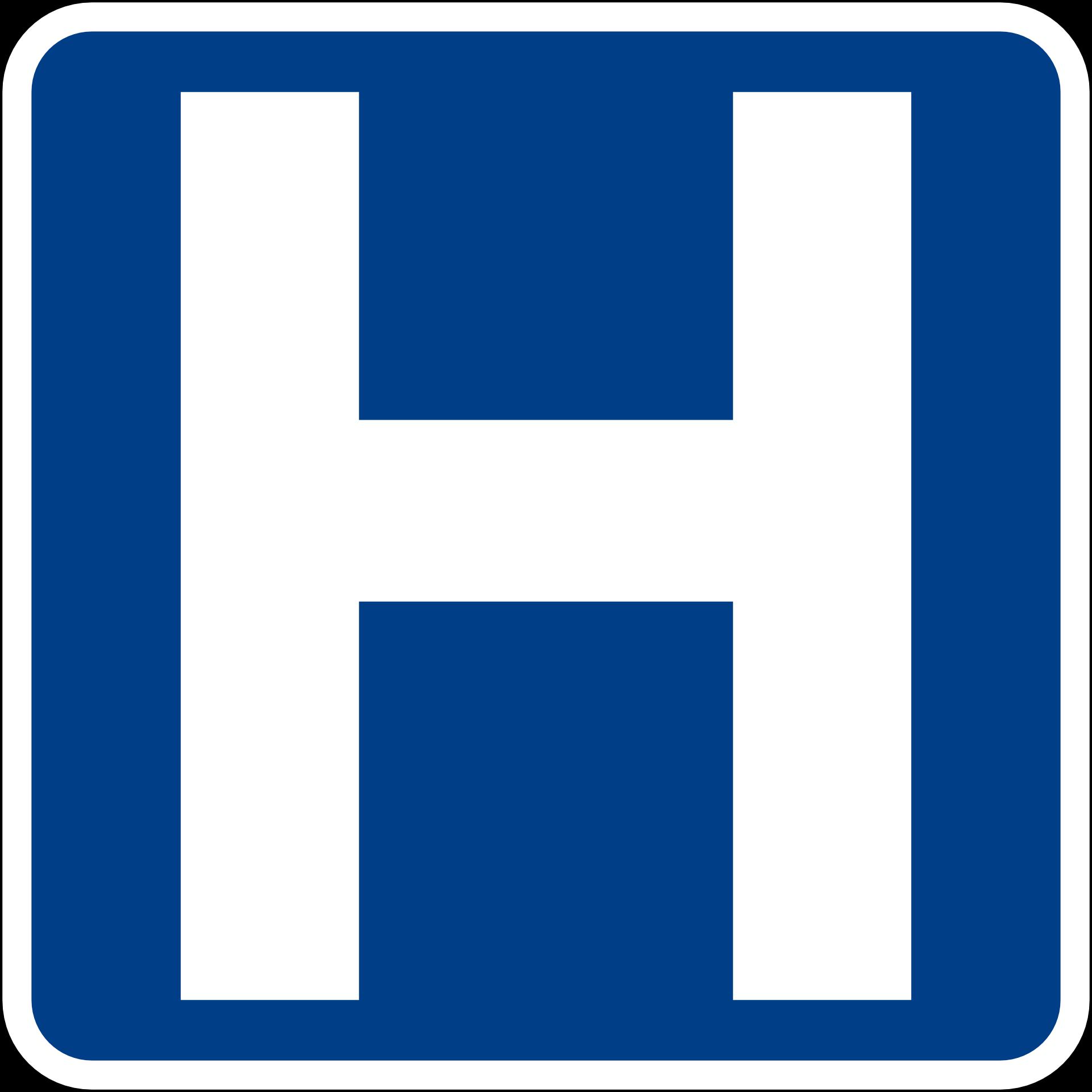 square blue sign saying Hospital