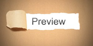 Brown paper background with a strip of paper torn to reveal the words PREVIEW