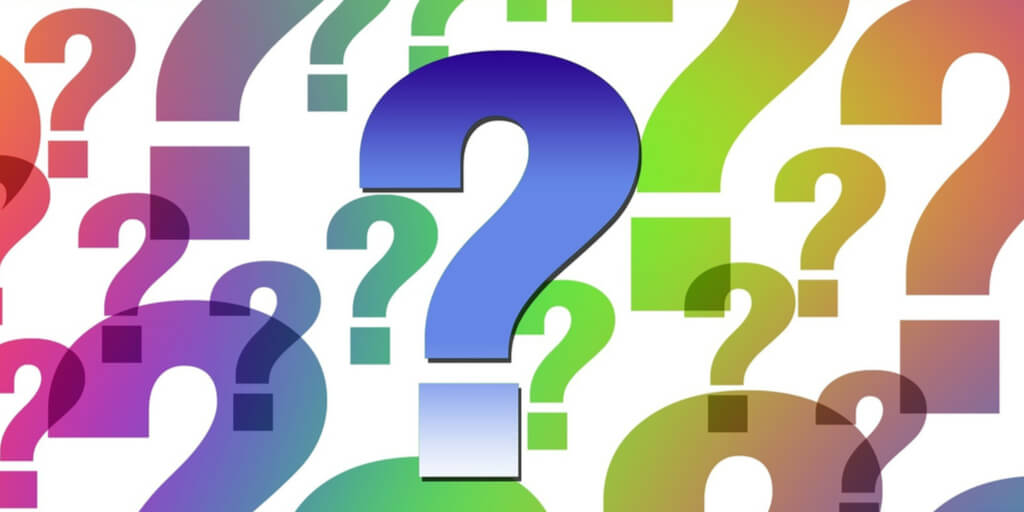 Colorful question marks represent FAQs