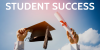 Mortarboard and diploma held high in the sky with text Student Success