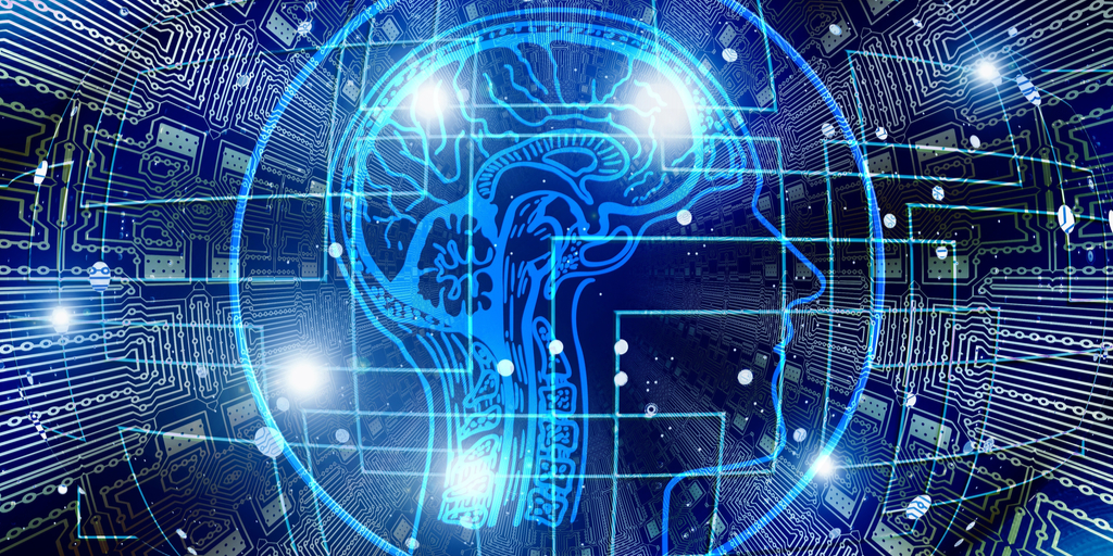 Blue graphic on black background of human brain enclosed in electrical circle