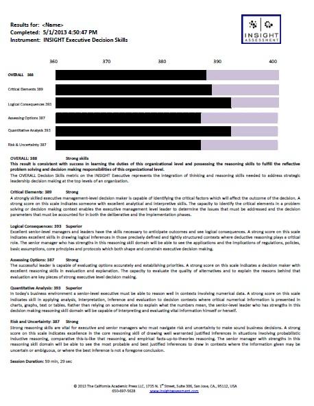 Sample INSIGHT individual report