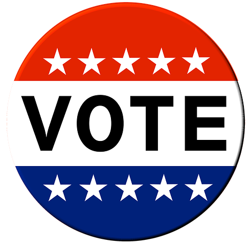Red, white and blue circle button saying VOTE
