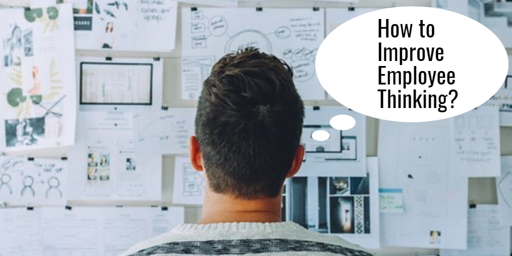 Man looking at a cluttered bulletin board thinking: How to improve employee thinking?